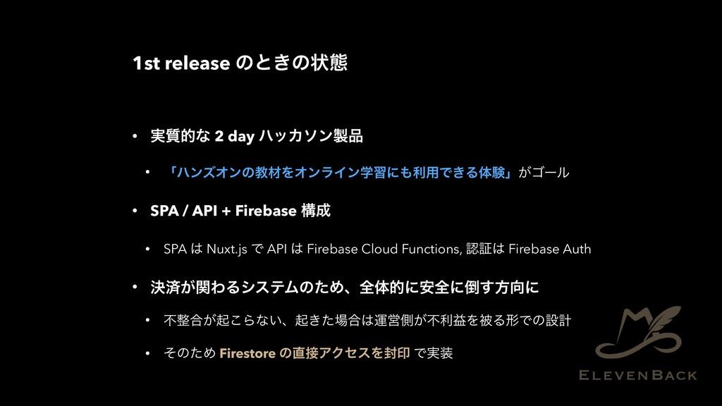 1st release ͷͱ͖ͷঢ়ଶ • ࣮࣭తͳ 2 day ϋοΧιϯ • ʮϋϯζΦ...