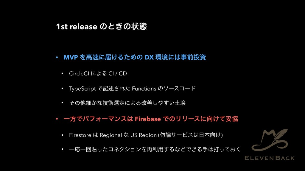 1st release ͷͱ͖ͷঢ়ଶ • MVP Λߴʹಧ͚ΔͨΊͷ DX ڥʹલ...