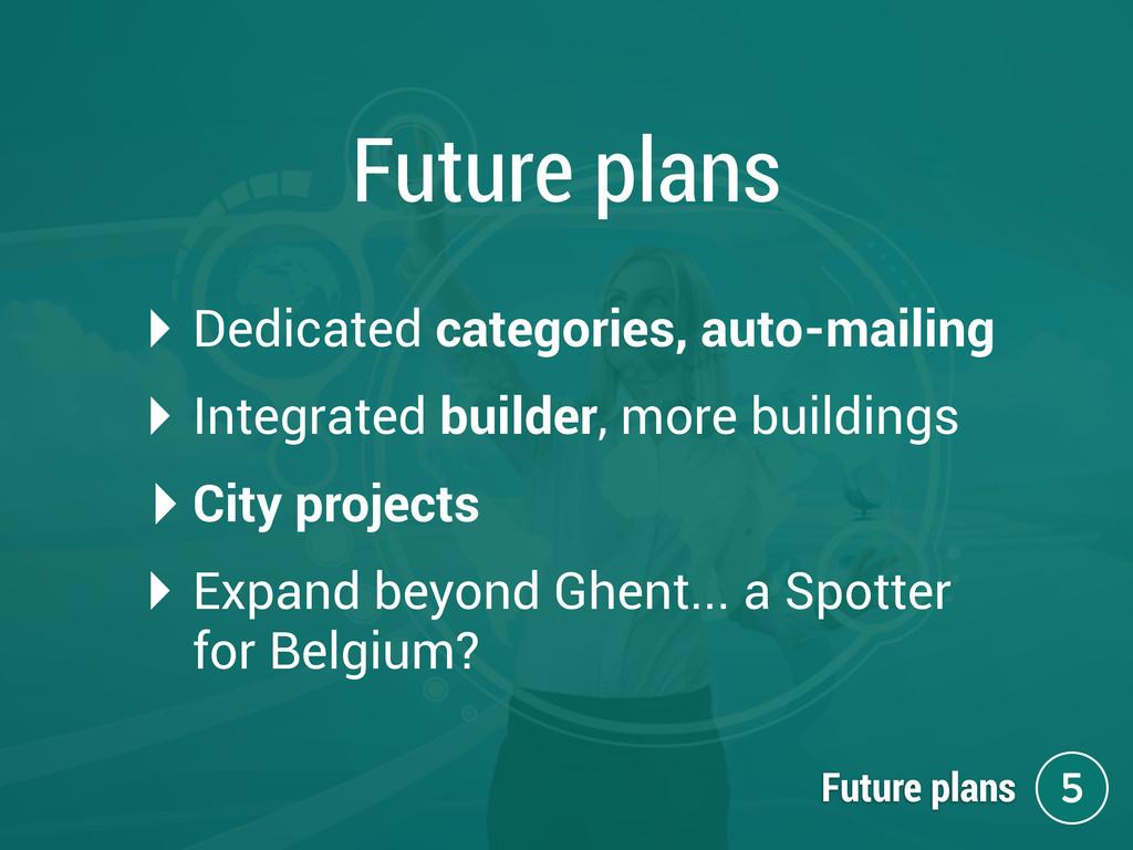 Future plans ‣ Dedicated categories, auto-maili...