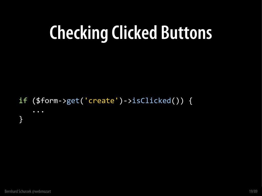 Bernhard Schussek @webmozart 19/89 Checking Cli...