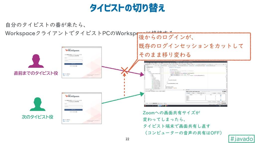 #javado 自分のタイピストの番が来たら、 WorkspaceクライアントでタイピストP...
