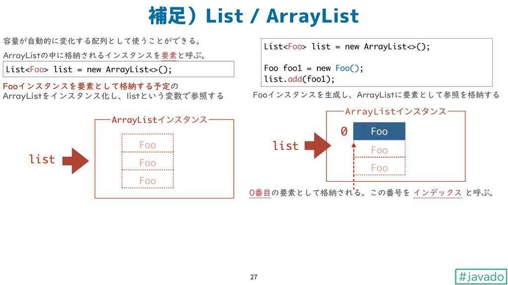 #javado 補足)List / ArrayList 27 容量が自動的に変化する配列として...