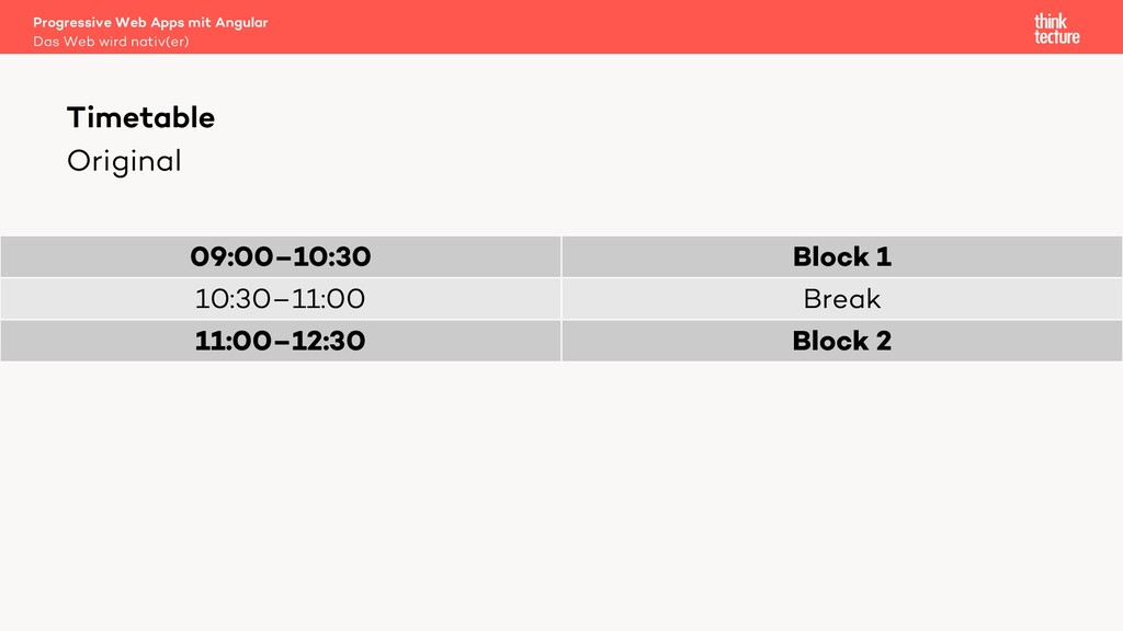 Original 09:00–10:30 Block 1 10:30–11:00 Break ...