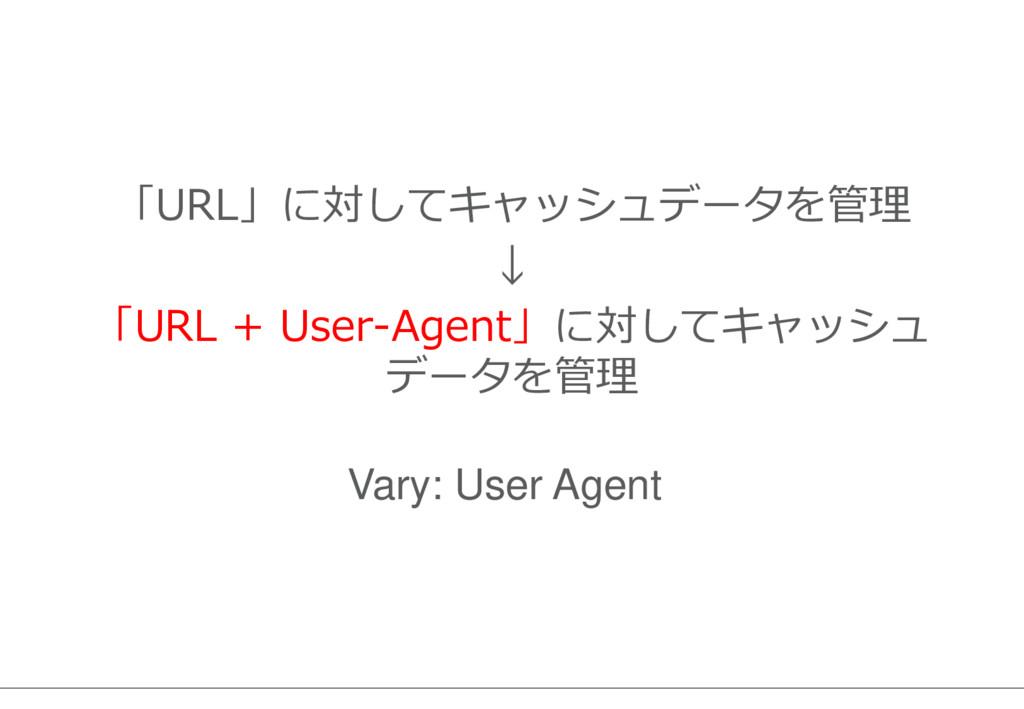 「URL」に対してキャッシュデータを管理 ↓ 「URL + User-Agent」に対してキャ...