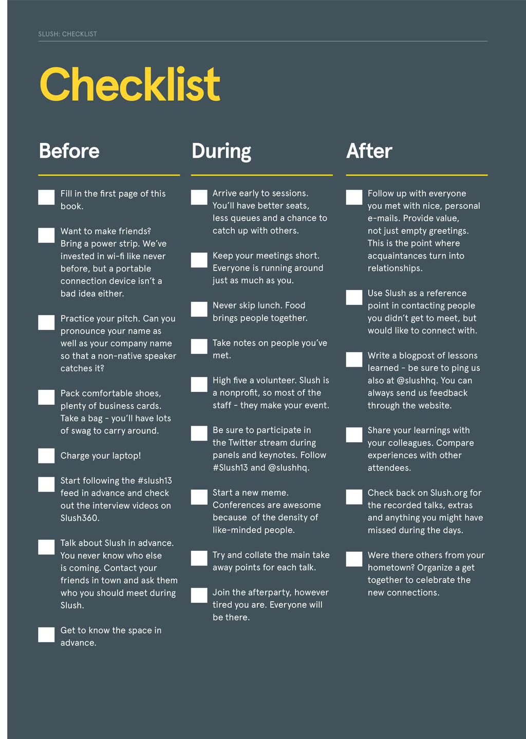 Checklist Before During After Fill in the first...