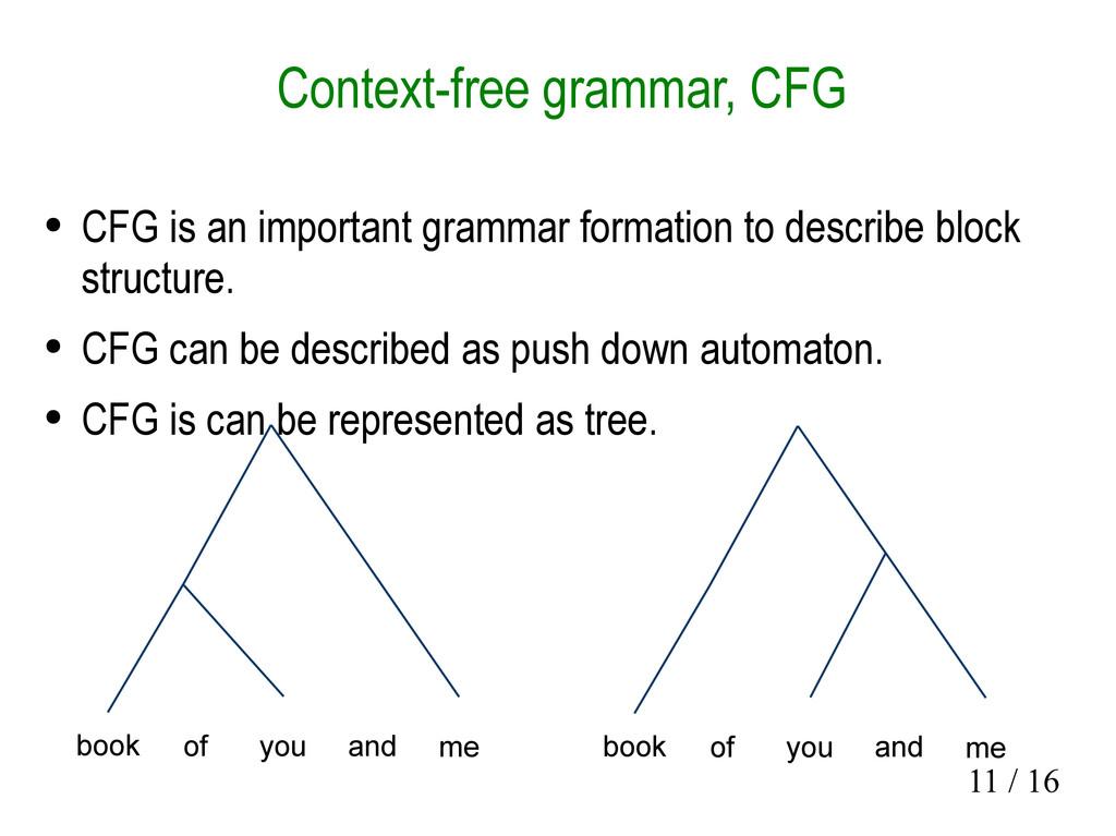 11 / 16 Context-free grammar, CFG ● CFG is an i...