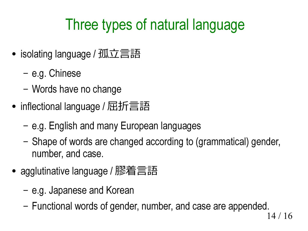 14 / 16 Three types of natural language ● isola...