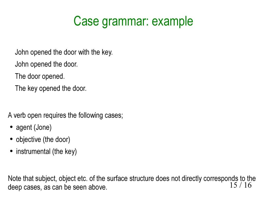 15 / 16 Case grammar: example John opened the d...