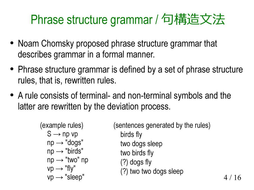 4 / 16 Phrase structure grammar / 句構造文法 ● Noam ...
