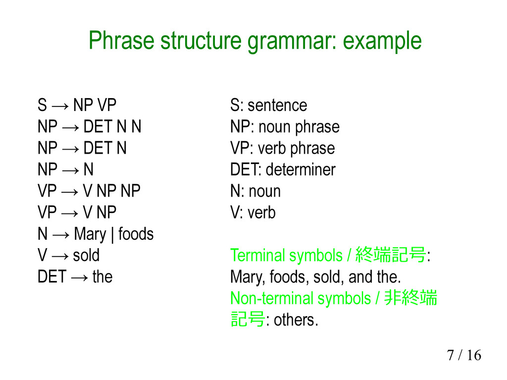 7 / 16 Phrase structure grammar: example S → NP...