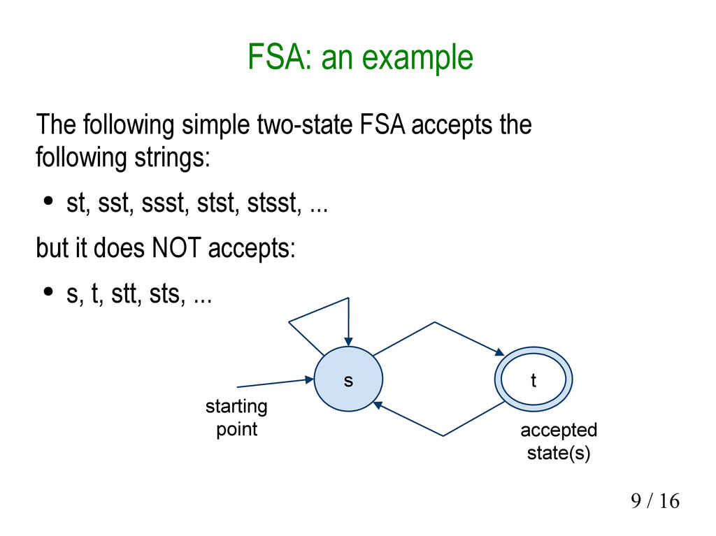9 / 16 FSA: an example The following simple two...