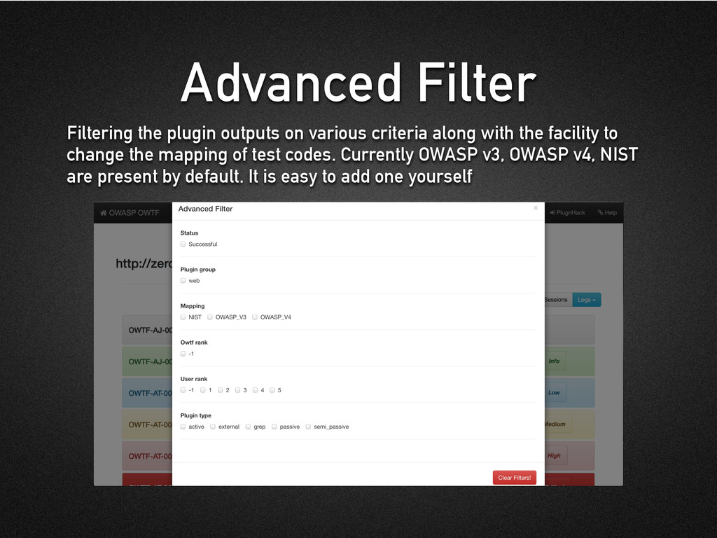 Advanced Filter Filtering the plugin outputs on...