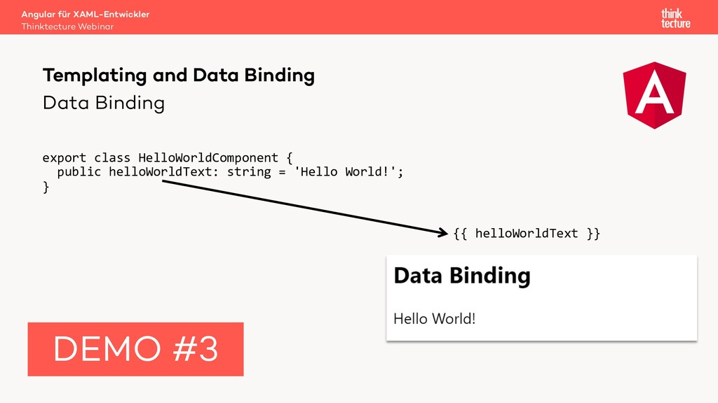 Data Binding export class HelloWorldComponent {...