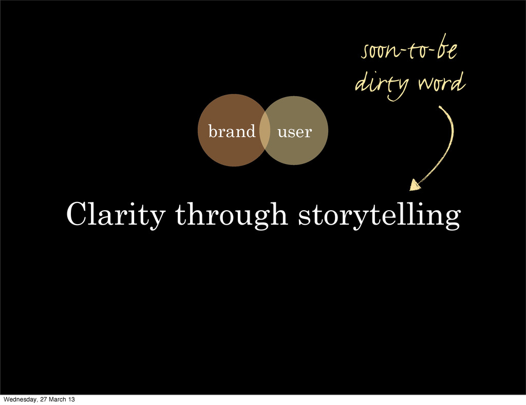 Clarity through storytelling soon-to-be dirty w...