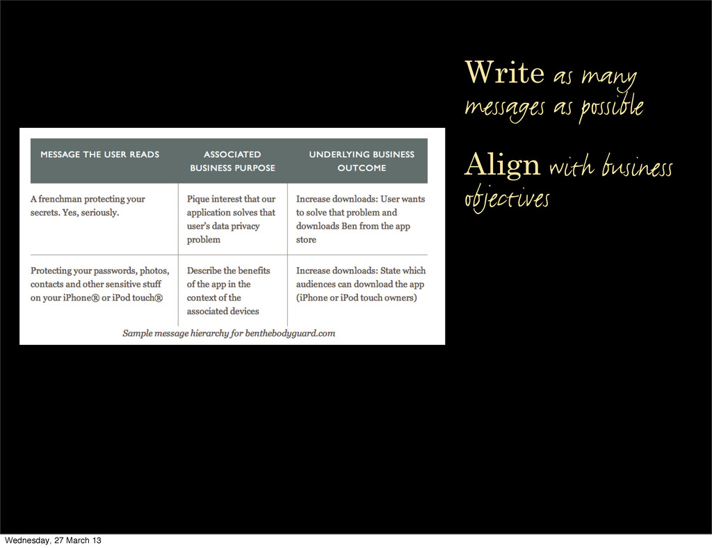Write as many messages as possible Align with b...
