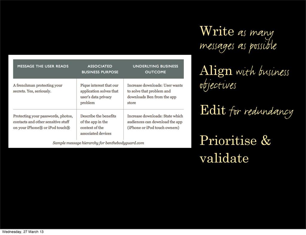 Edit for redundancy Prioritise & validate Write...