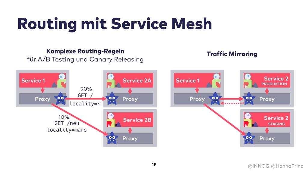 Routing mit Service Mesh GET /neu GET / 90% 10%...