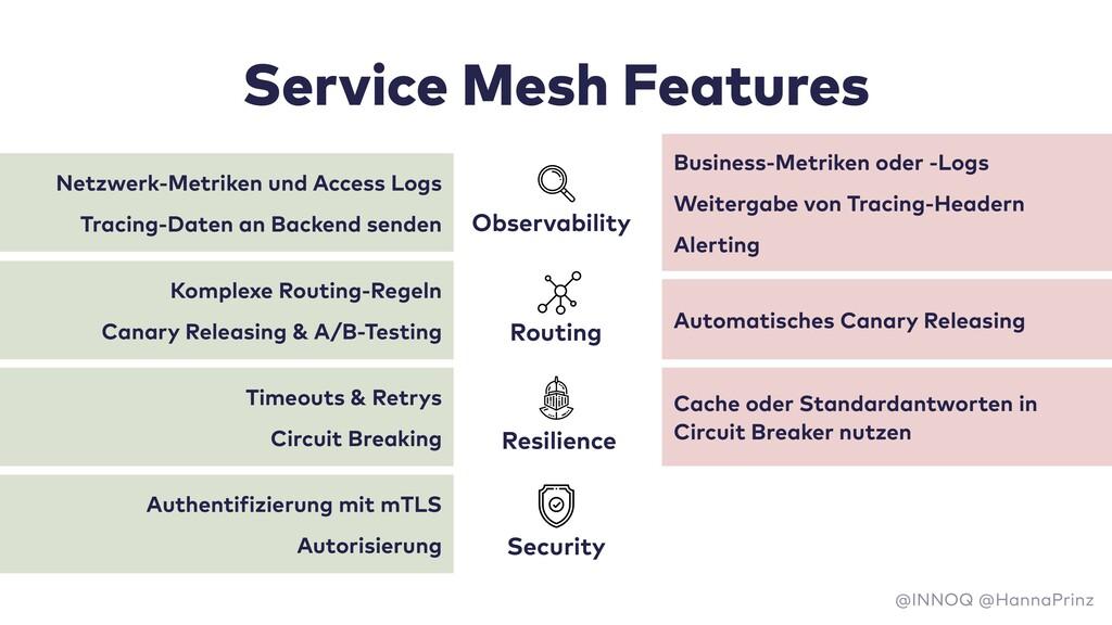 Service Mesh Features Netzwerk-Metriken und Acc...