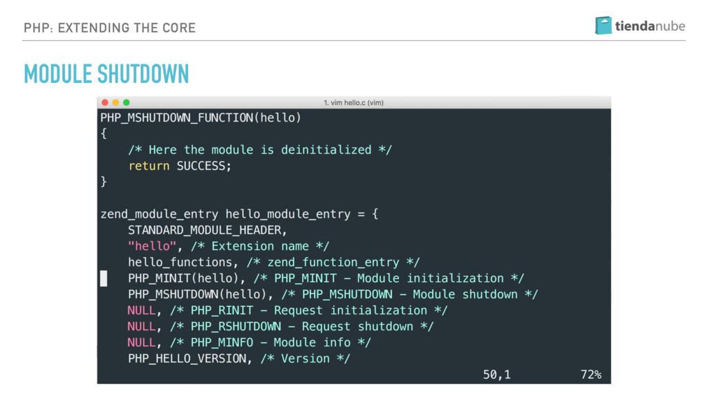 PHP: EXTENDING THE CORE MODULE SHUTDOWN
