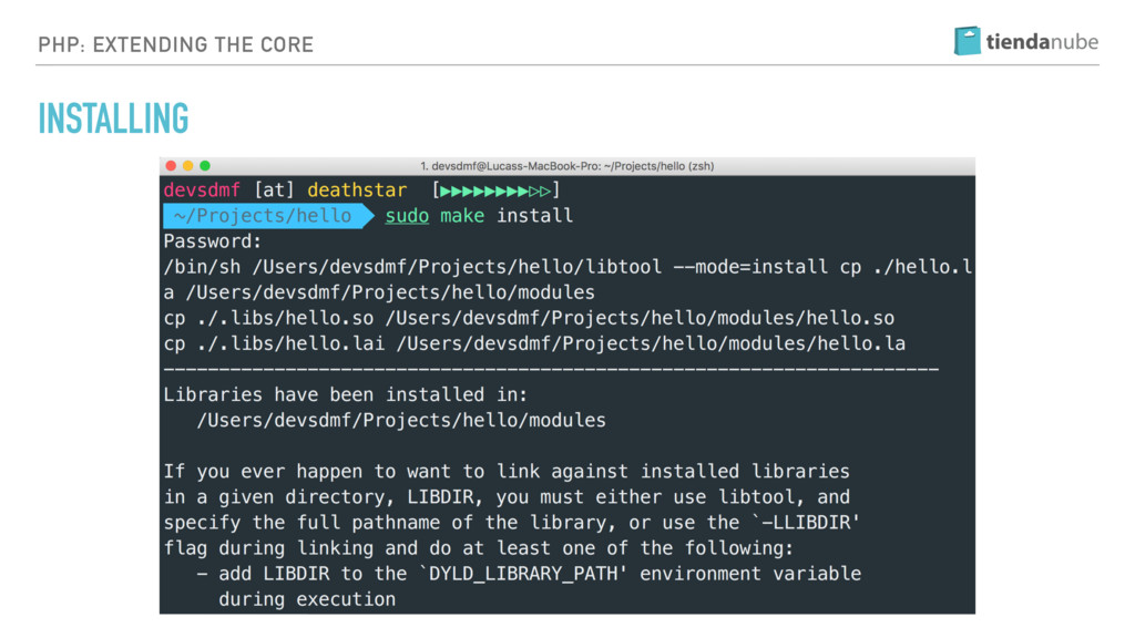 PHP: EXTENDING THE CORE INSTALLING