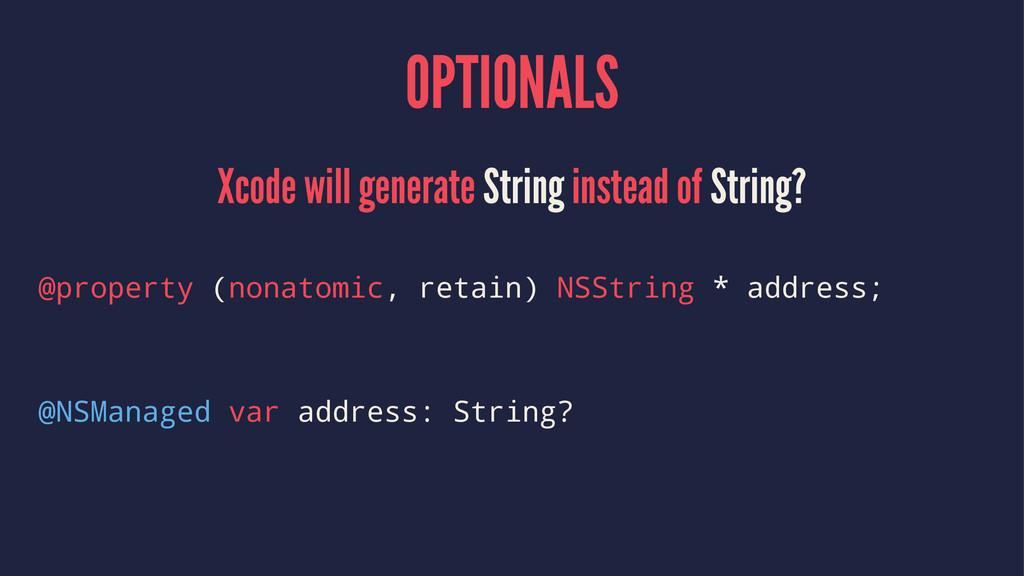 OPTIONALS Xcode will generate String instead of...