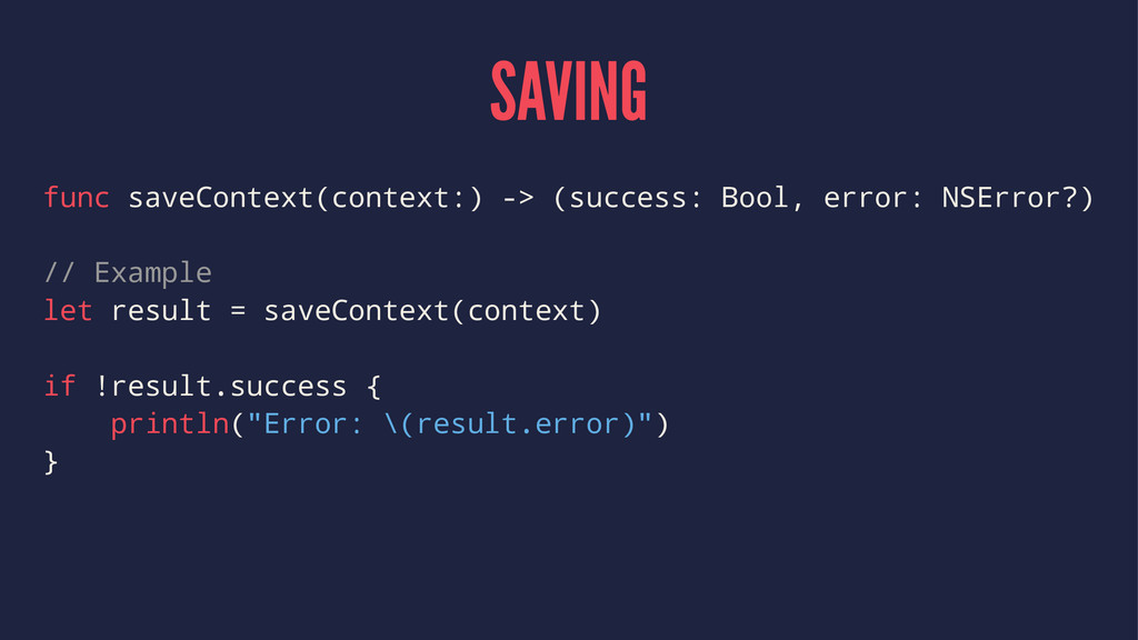 SAVING func saveContext(context:) -> (success: ...