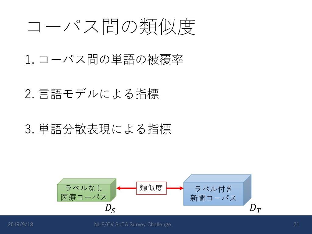コーパス間の類似度 1. コーパス間の単語の被覆率 2. ⾔語モデルによる指標 3. 単語分散...