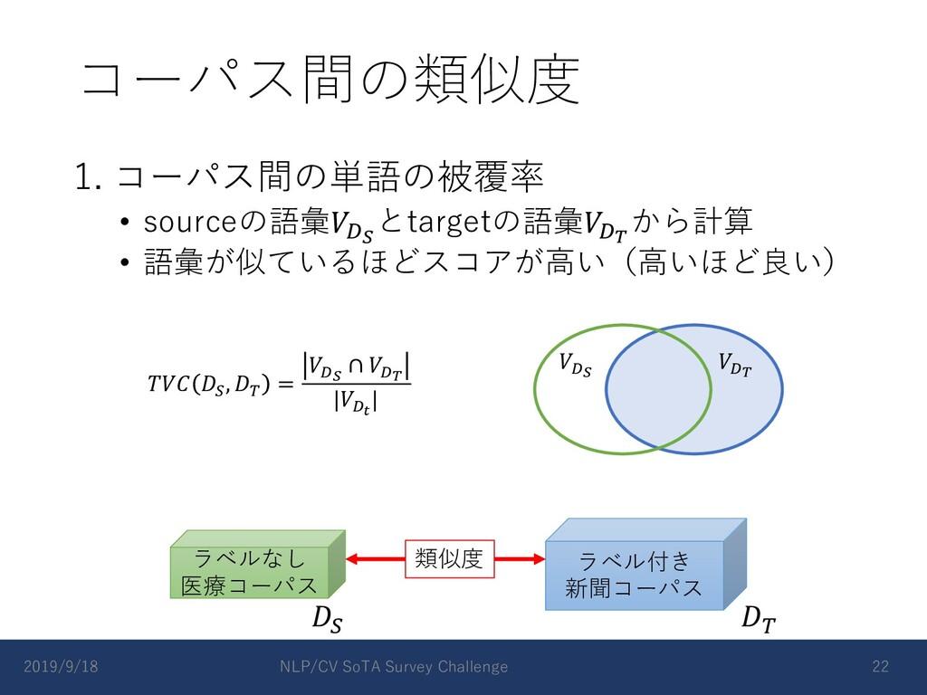 コーパス間の類似度 1. コーパス間の単語の被覆率 • sourceの語彙𝑉#! とtarge...