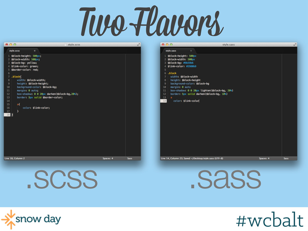 Two Flavors .scss .sass #wcgr #wcbalt