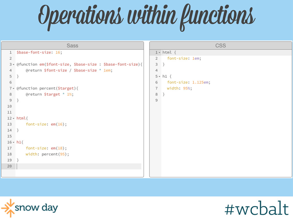 Operations within functions #wcbalt