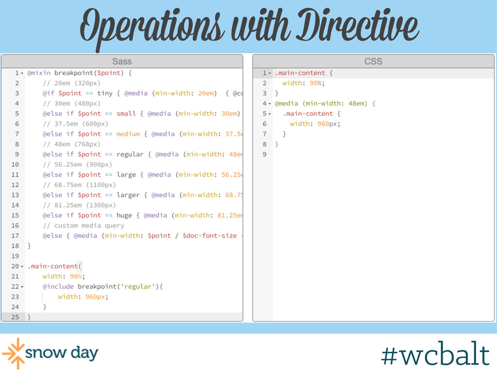 Operations with Directive #wcbalt