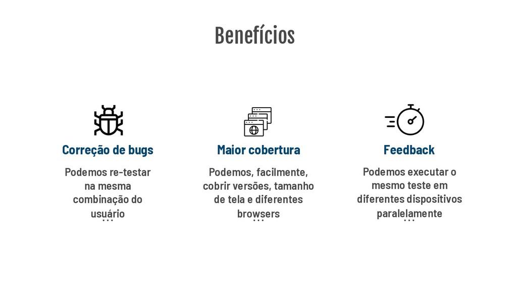 Benefícios Maior cobertura Correção de bugs Fee...