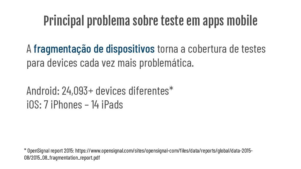 Principal problema sobre teste em apps mobile A...