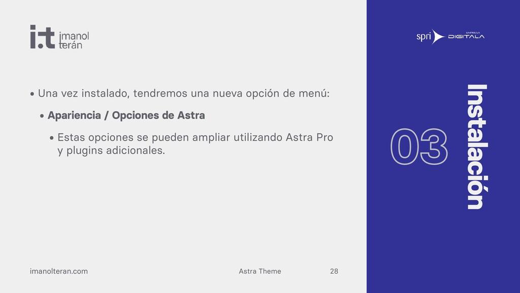 Astra Theme imanolteran.com • Una vez instalado...