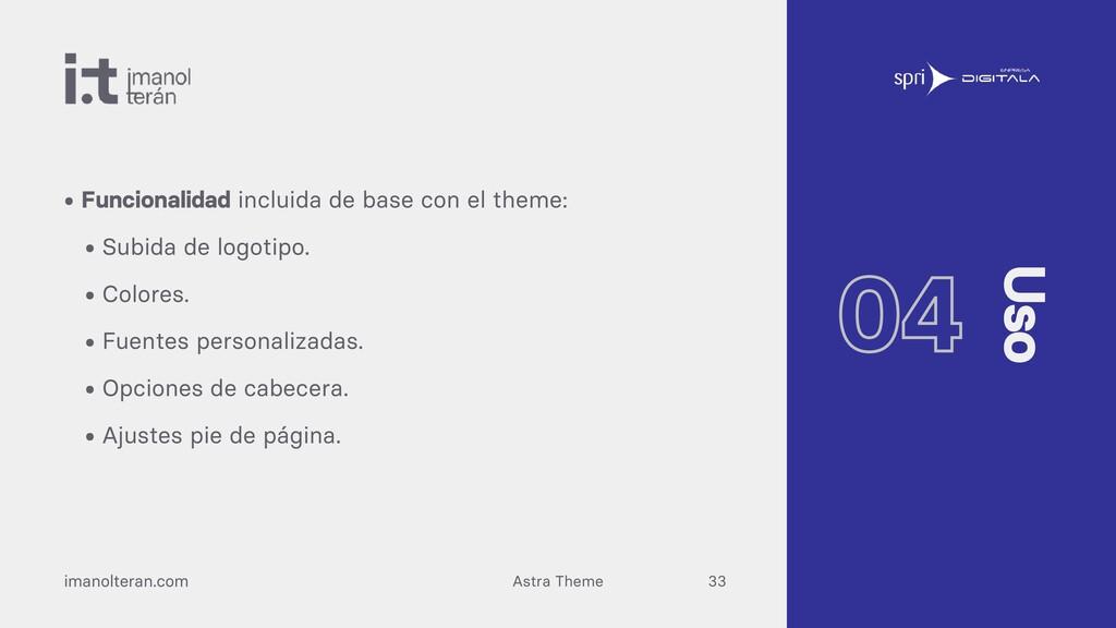 Astra Theme imanolteran.com • Funcionalidad inc...