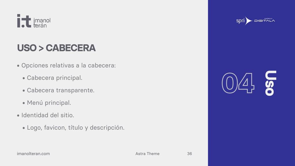 Astra Theme imanolteran.com • Opciones relativa...