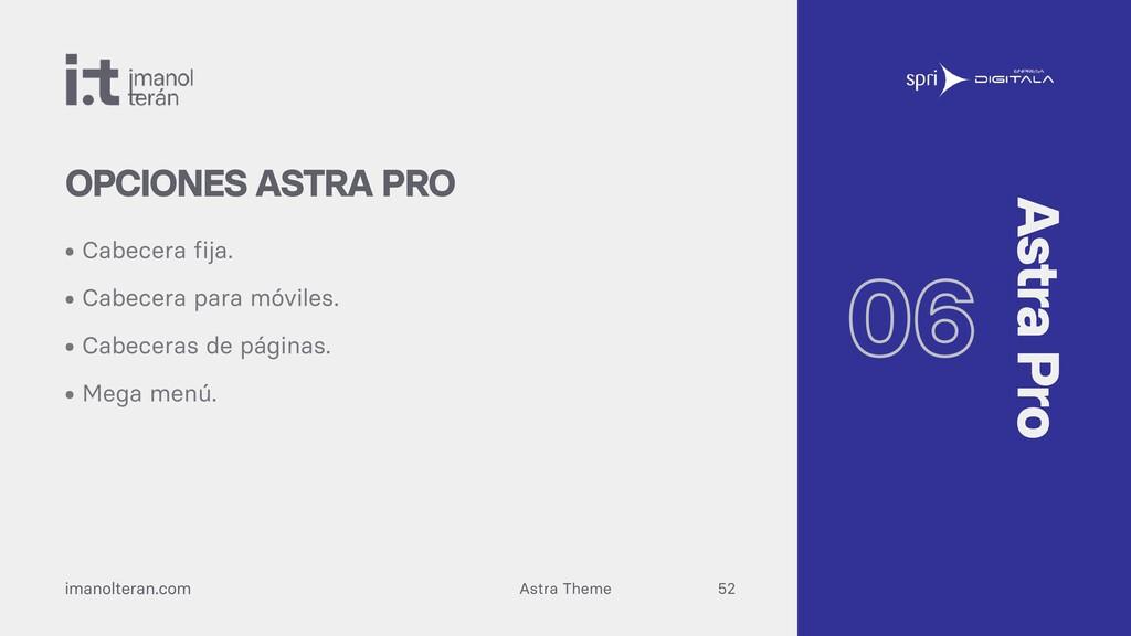 Astra Theme imanolteran.com • Cabecera fija. • ...