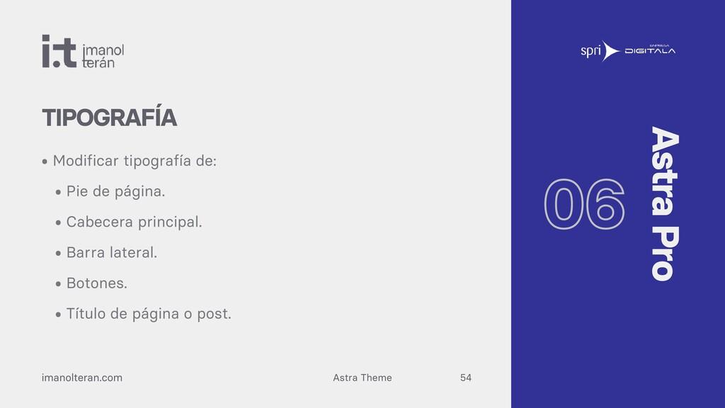 Astra Theme imanolteran.com • Modificar tipogra...