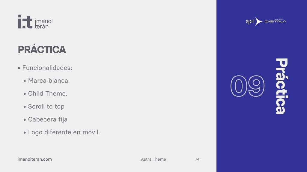 Astra Theme imanolteran.com • Funcionalidades: ...