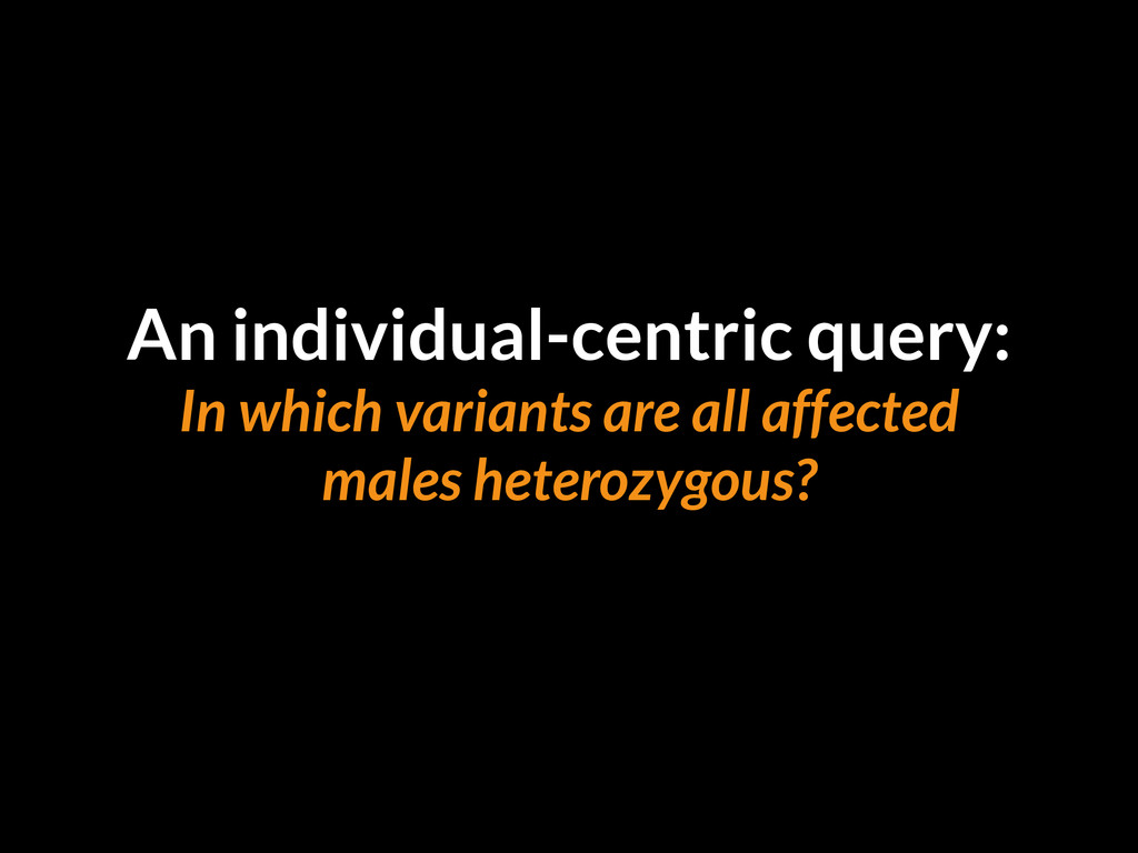 An individual-centric query: In which variants ...