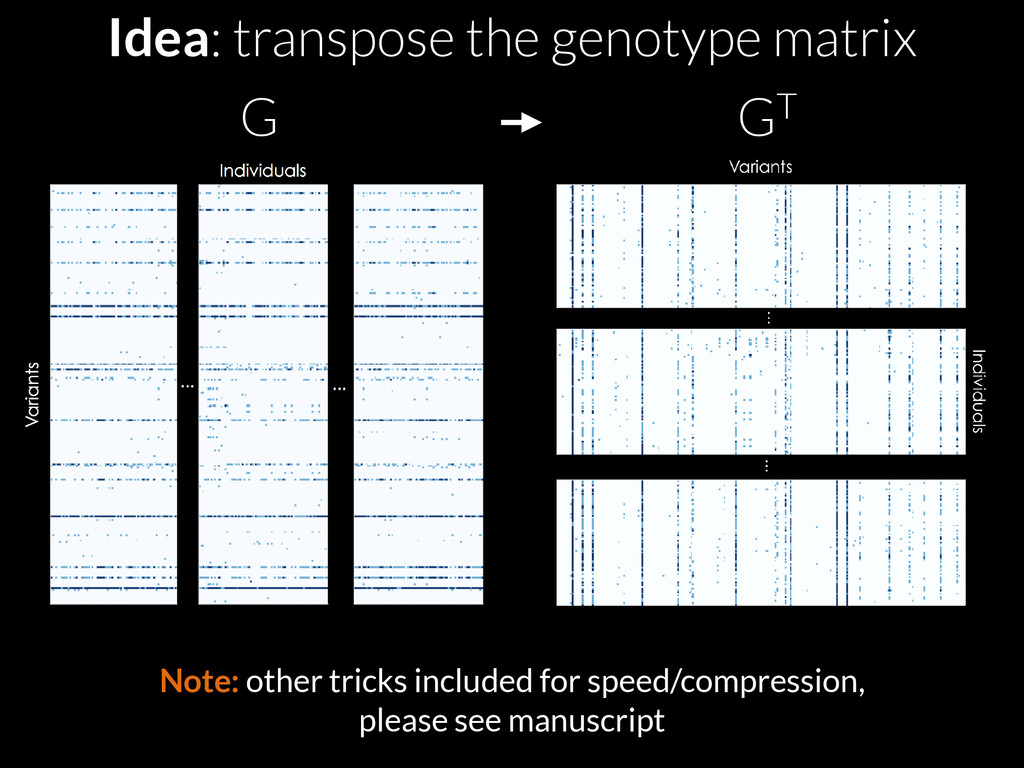 Idea: transpose the genotype matrix G GT Note: ...