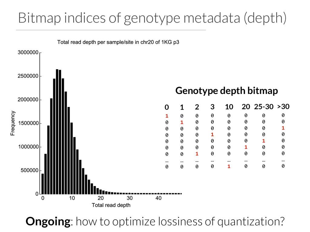 Bitmap indices of genotype metadata (depth) Gen...