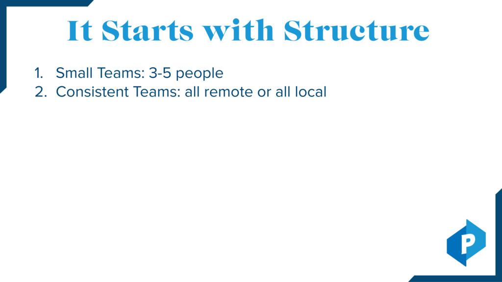 1. Small Teams: 3-5 people 2. Consistent Teams:...