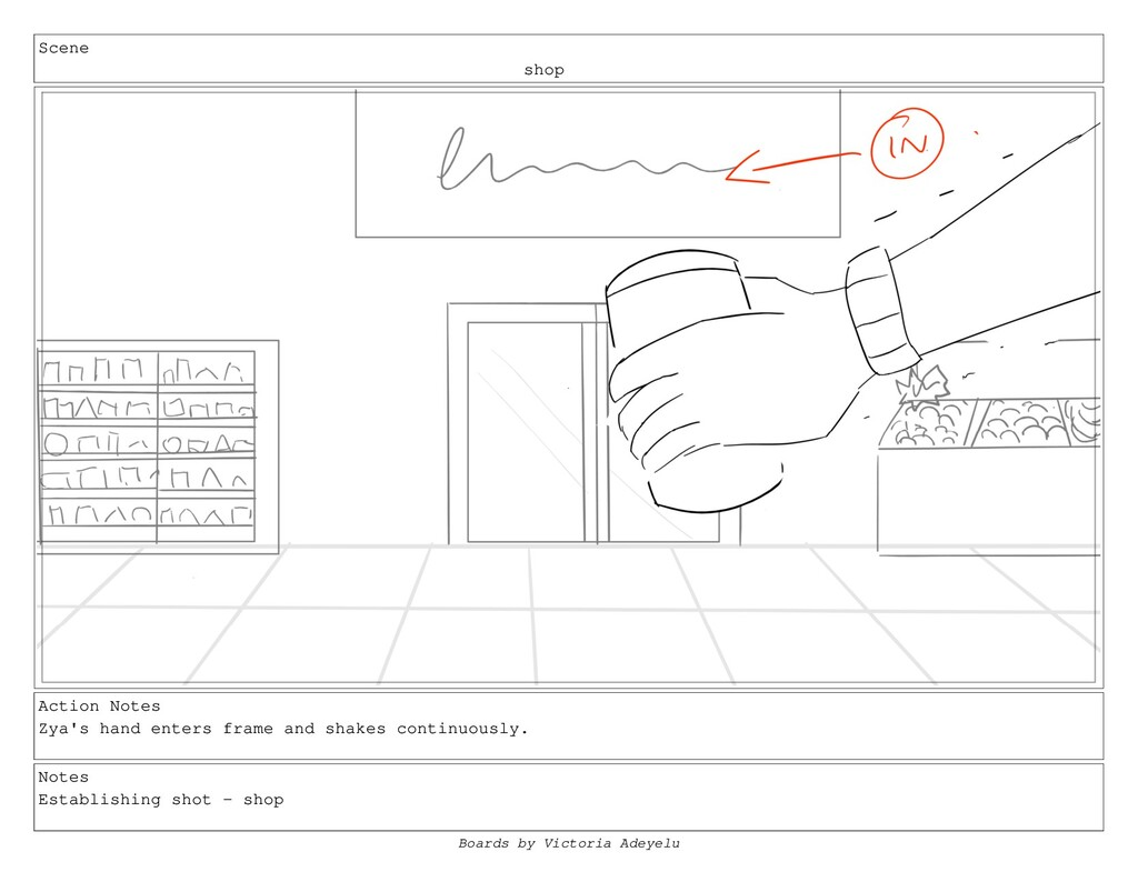 Scene shop Action Notes Zya's hand enters frame...