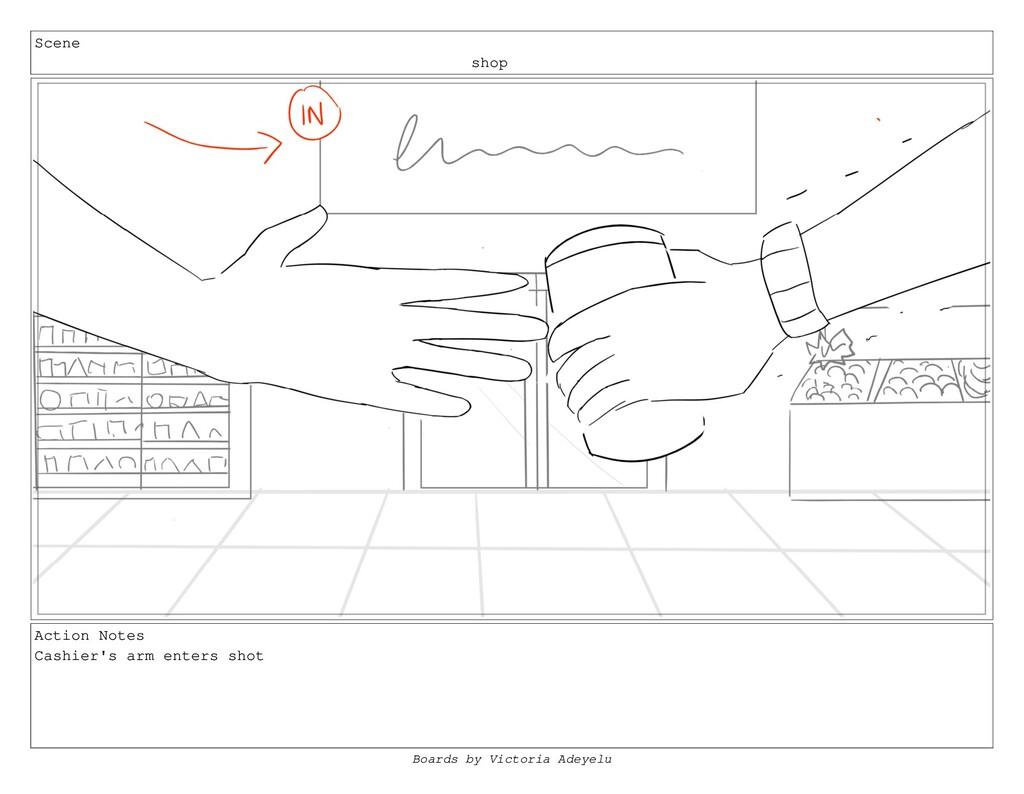 Scene shop Action Notes Cashier's arm enters sh...