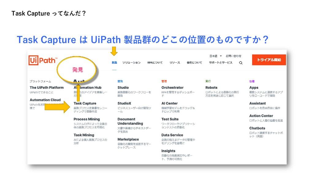 Task Capture は UiPath 製品群のどこの位置のものですか? Task Cap...