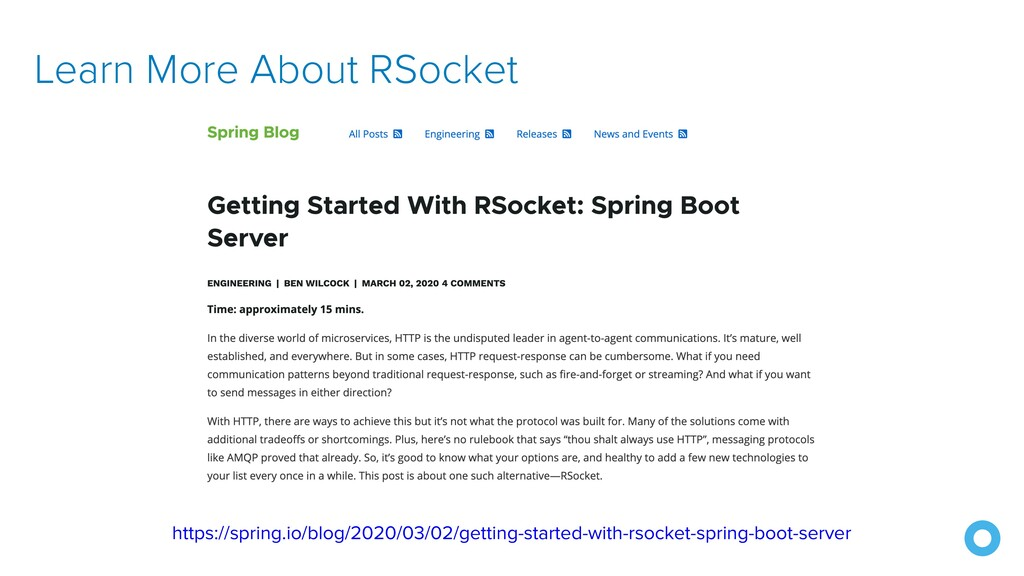 Learn More About RSocket https://spring.io/blog...