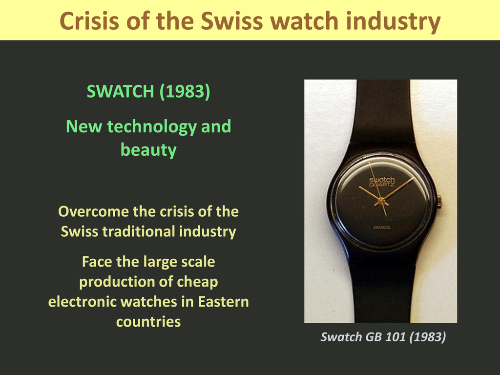 Crisis of the Swiss watch industry SWATCH (1983...