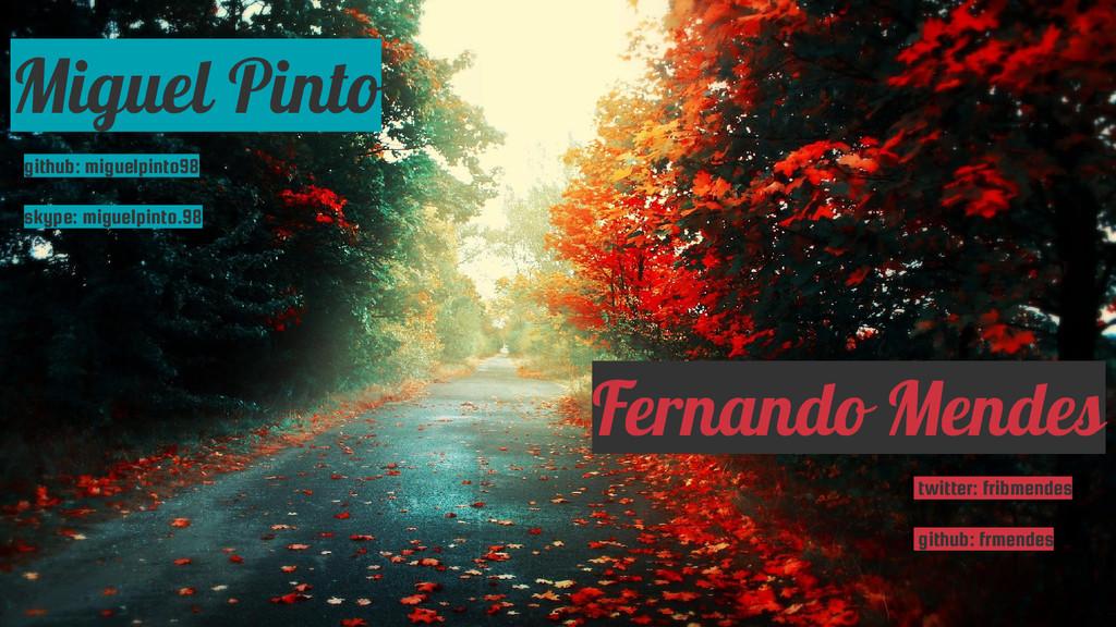 Miguel Pinto Fernando Mendes twitter: fribmende...