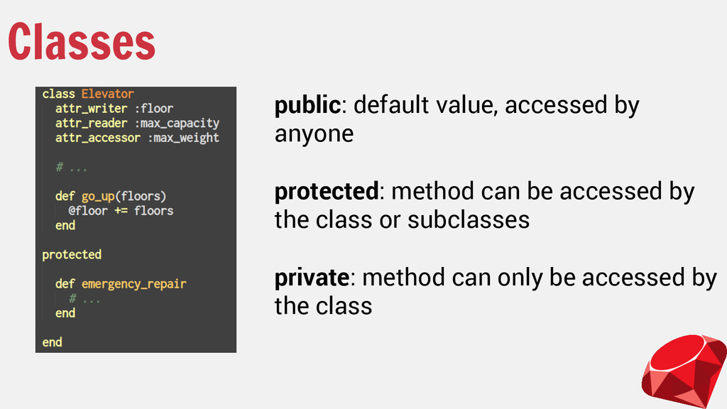 Classes public: default value, accessed by anyo...